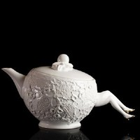 Supermarket - Blaue Blume tea pot - white with gold shoes from Undergrowth Design