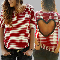 Heart Cut out Shirt Made to order Upcycled Heart shirt  Back Cut Out Shirt from BglorifiedBoutique