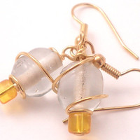 Yellow and Clear Earrings Glass Beads Wrapped with Gold Wire