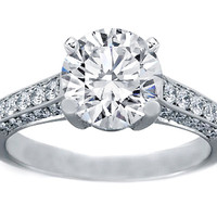 Engagement Ring - Platinum Pave Diamond Gallery Engagement Ring Setting - ES222