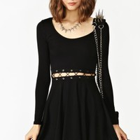 Laced Skater Dress - Black