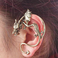 Punk Goth Medieval 'Fire Breathing' Dragon Ear Cuff