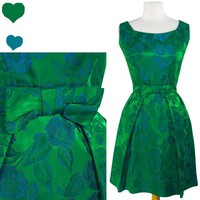 Vintage 50s 60s GREEN Floral BROCADE Cocktail Party Dress S Blue SATIN Prom BOW | eBay