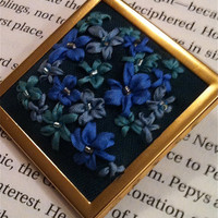 Blue Green and Teal Flower Pendant by BeanTownEmbroidery on Etsy