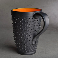 Tall Spiky Mug: Made To Order Dangerously Spiky Travel Coffee Tea Mug Cup by Symmetrical Pottery