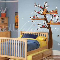 Kids Wall Decals Vinyl Wall Tree Stickers - Shelving Tree with Birds