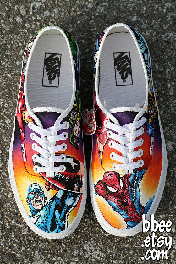 painted marvel comic shoes size 8 from bbee on etsy
