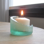 Glass Bottle Candle Luminary Sea Foam Green Beach Cottage Decor - C.11-1