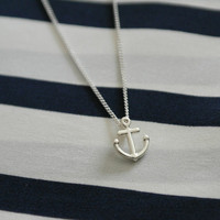 Make a wish Friendship necklace chain with silver lucky anchor charm