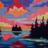ORIGINAL Acrylic Painting, Northern Sunrise Surreal, 5x7 Colorful Island and Sky Art