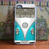 VW Bus in Mint, teal, blue volkswagen - iPhone 4S and iPhone 4 Case Cover