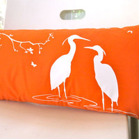 Orange Egret Lovers in the Swamp Rectangle Pillow