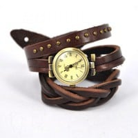 Dark Brown Wrap Leather Strap Watch