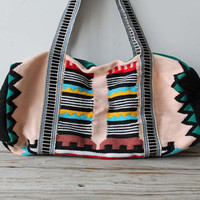 Large Aztec Woven Duffle Bag