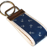 Mini Fob Key Chain - Tiny Cream Anchors on Navy - natural cotton webbing