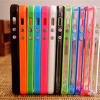 Lovely 12pcs Colorful Clear Bumper Case Cover Metal Buttons Skin For iPhone 5 5G