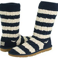 Navy Cream Stripe Cable Knit UGG Boots [5822-Navy Cream] - $89.90 :