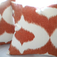 Ikat design Orange Pumpkin pillow cover 18 x 18