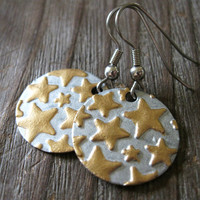 Seeing Stars Earrings - Star Stamped Embossed Brass Round Silver Gold Leaf Metal Paint Antique Silver Wire - Vintage Rustic Boho