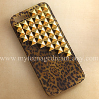 Iphone 5 Case, studded leopard Cases for iPhone 5, golden studs, cheetah iphone 5 hard case