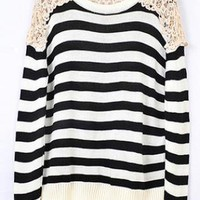 Striped Round Neck Black Sweater  S003004