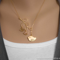 AUTUMN SALE - Family Bird and Branch Lariat Necklace - gold filled chain - mom, sister, daughter gift, bridesmaid gift
