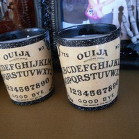 Set of 2-Glass Ouija Board-Votive Candle Holders with Candles