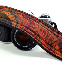 dSLR Camera Strap, Pocket, Aztec, Tribal, Rust, Floral, SLR, Teal, Gold, Black