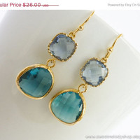 AUTUMN SALE - Winter Fashion Blue Sapphire Gold Drop Earrings, Modern Earrings - wedding jewelry, bridal, bridesmaid gifts, chirstmas gift
