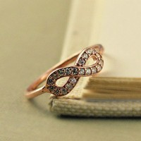 Infinity Ring, Rose Gold, Sterling Silver, Dainty, Christmas Gift