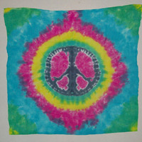Tie Dye Peace Sign Tapestry - Any Color Combination Available