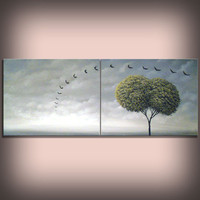 art original abstract painting abstract minimalist impressionist tree painting Original Painting modern painting huge original retro 16 X 40
