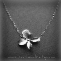 Matte silver single orchid flower necklace Sterling by ZeesBeadZ