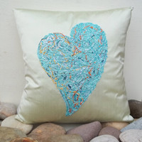 Turquoise heart Throw pillow, Decorative pillow cover, Cushion, Natural Silk, Handmade embroidery, Housewarming gift