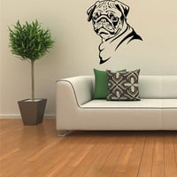 Pug Dog Wall Mural Vinyl Sticker Kids Room A36 by vsgraphicsdotnet