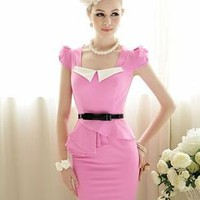 50&#x27;S Pin up Sweety Vintage Rockabilly party dress pencil mini dress rosa S-XL