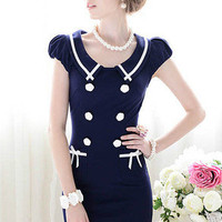 Navy Blue Double Breasted Cap Sleeve Sailor Collar Dress