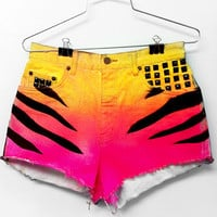 High Waisted Shorts - Ombre Neon Tiger Print with Studs