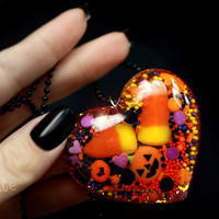 Halloween Trick or Treat Heart Necklace with Real Candy