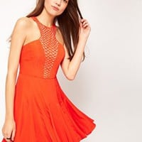 Oasis Limited Edition Embellished Neck Skater Dress at asos.com