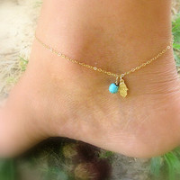 Ankle bracelet, anklet, Hamsa gold anklet, hamsa bracelet, gold anklet, foot jewelry, gold ankle bracelet, thin delicate, gold bracelet