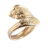 Vintage Gold Tone Spoon Ring - WMA Rogers Oneida Ltd Flatware Adjustable Jewelry / Floral Vanessa Design