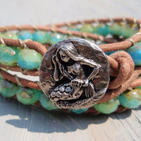 Caribbean Mermaid double 2x natural leather wrap by slashKnots
