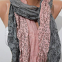 Elegant Scarf Cotton Scarf  Feminine Scarf Pink - Gray