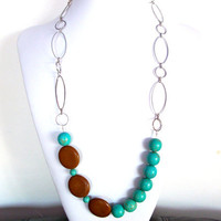 Long gemstone necklace silver chain turquoise magnesite and brown jasper