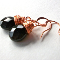Black briolette earrings copper wire wrapped black crystal glass faceted briolettes wrapped with copper wire jewellery