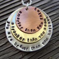 Personalized hand stamped pendant- 3-stack silver, copper and brass- mommy jewelry poem inspirational