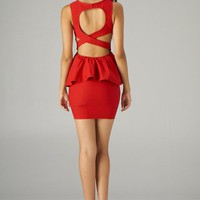 Red Fitted Peplum Dress with Cutout Open Back