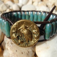 Blue Heron  dark brown leather single wrap cuff by slashKnots