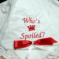 Red and White Princess Ruffled Diaper Cover with Bow Embroidered